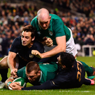 CJ Stander of Ireland supported by Devin Toner scores his side's third try despite the tackle of Nicolas Sanchez, left, and Jeronimo de la Fuente of Argentina during last month's International match at the Aviva Stadium. Photo: Ramsey Cardy/Sportsfile