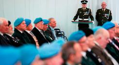 A member of the defence forces holds the medals at Custume Barracks, Athlone, where the presentation of An Bonn Jadotville, to the veterans and relatives of those who served A Company 35th Infantry Battalion who fought at the Battle of Jadotville in September 1961. Photo: Brian Lawless/PA Wire