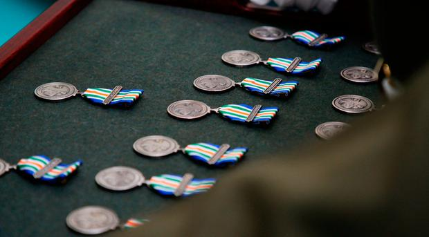 A view of the medals at Custume Barracks, Athlone, where the presentation of An Bonn Jadotville (The Jadotville Medal), to the veterans and relatives of those who served A Company 35th Infantry Battalion who fought at the Battle of Jadotville in September 1961. Photo: Brian Lawless/PA Wire