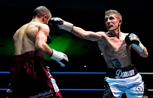 Eric Donovan, right, in action against Juan Luis Gonzalez during their bout at the National Stadium in Dublin. Photo by David Fitzgerald/Sportsfile