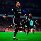 Jesse Lingard of Manchester United celebrates after scoring his side's second goal
