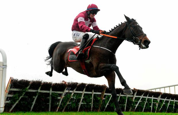 Apple's Jade, with Jack Kennedy up, jump the last, on their way to winning the Bar One Racing Hatton's Grace Hurdle at Fairyhouse Racecourse in Fairyhouse, Co Meath. Photo by Cody Glenn/Sportsfile