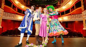 Nicholas Grennell as King Larry Lilly Loolah, Johnny Ward as Johnny B Goode, Ciara Lyons as Rapunzel, and Joe Conlan as Nanny Ninny Noonah, in 'Rapunzel' at the Gaiety Theatre, Dublin