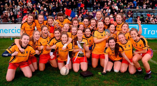 Dunboyne players celebrate following their side's victory during the All-Ireland Ladies Football Intermediate Club Championship Final match between Dunboyne and Kinsale at Parnell Park in Dublin. Photo by Seb Daly/Sportsfile