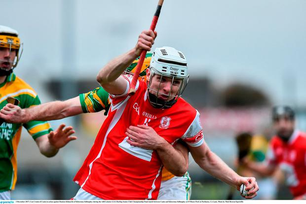 Con Cronin of Cuala in action against Damien Kilmartin of Kilcormac Killoughey during the AIB Leinster GAA Hurling Senior Club Championship Final match between Cuala and Kilcormac Killoughey at O'Moore Park in Portlaoise, Co Laois. Photo by Matt Browne/Sportsfile
