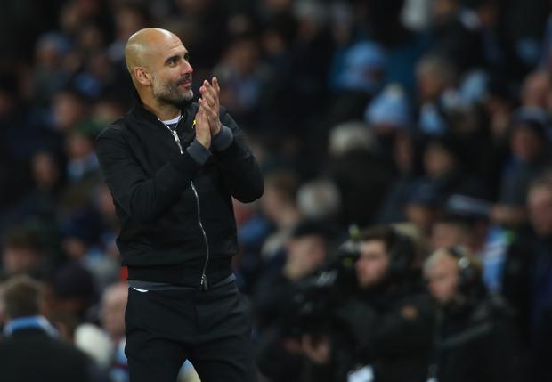 Josep Guardiola, Manager of Manchester City celebrates after the Premier League match between Manchester City and West Ham United at Etihad Stadium on December 3, 2017 in Manchester, England. (Photo by Clive Brunskill/Getty Images)