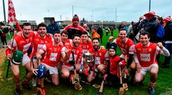 The Cuala players celebrate their Leinster double in Portlaoise. Photo: Matt Browne/Sportsfile