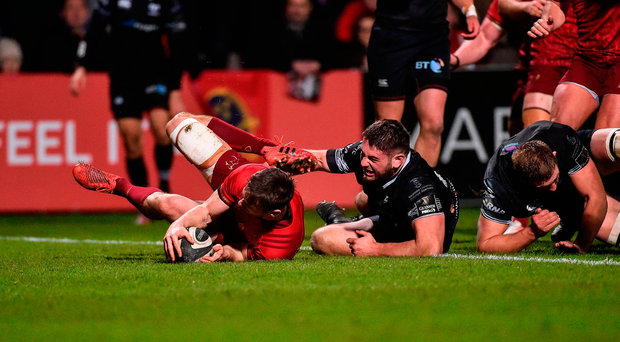 Darren Sweetnam goes over for Munster's second try against the Ospreys. The Corkman could be the best full-back anywhere if he is given the chance. Photo by Diarmuid Greene/Sportsfile