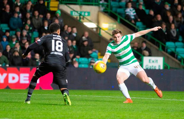 James Forrest scores his Celtic's fifth goal of the game. Photo: PA