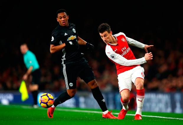 Laurent Koscielny tried a risky pass across his own defence leading to United's first goal at the weekend. Photo: Julian Finney/Getty Images