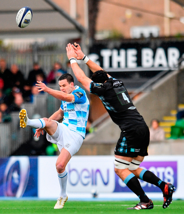 Johnny Sexton has been purring nicely for Leinster this season. Photo by Ramsey Cardy/Sportsfile