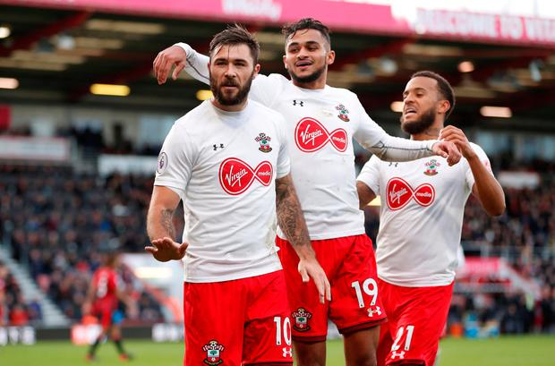 Southampton's Charlie Austin celebrates scoring his side's equaliser. Photo: REUTERS