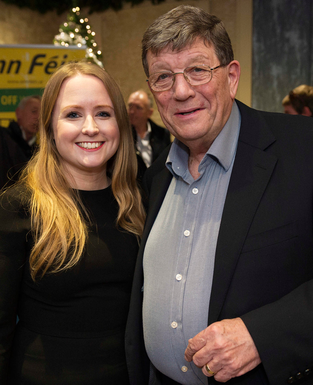Mairéad Farrell, nominated as a candidate for the Galway West constituency, with retired Sinn Féin politician Pat Doherty at the Harbour Hotel yesterday. Photo: Andrew Downes