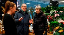 British Prime Minister Theresa May and her husband Philip during a visit to VFB the Florist in Twyford, Reading, at the weekend. Photo: PA