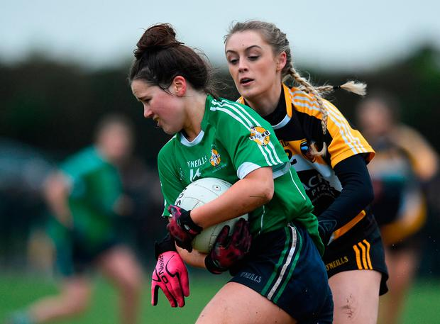 Aileen McGrath of Aghada in action against Naomi Cogan of Corduff. Photo by Matt Browne/Sportsfile