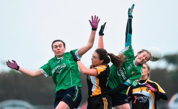 Hannah Looney and Roisin Phelan of Aghada in action against Laura McEnaney and Naomi Cogan of Corduff. Photo by Matt Browne/Sportsfile