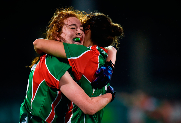 Emma Cosgrave, left, and Martha Carter of Carnacon celebrate. Photo by Seb Daly/Sportsfile