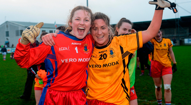 Dunboyne's Alison O'Sullivan (left) and Carol Keenan celebrate. Photo by Seb Daly/Sportsfile