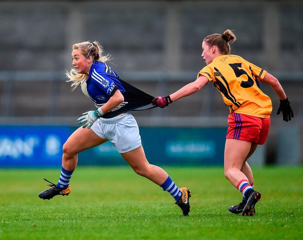 Sadhbh O'Leary of Kinsale in action against Beibhinn Hickey of Dunboyne. Photo by Seb Daly/Sportsfile