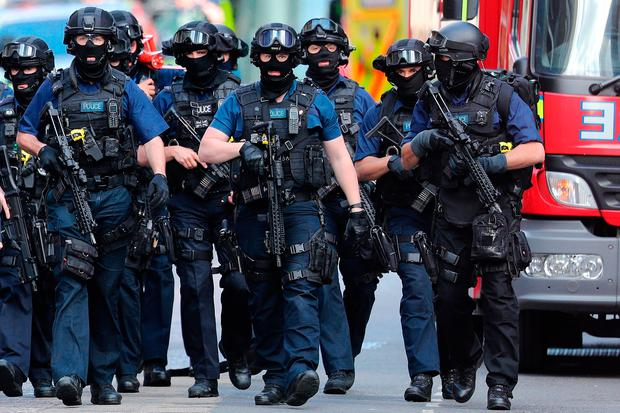 Counter-terrorism officers on patrol in the aftermath of the London Bridge terror attacks in June. Picture: Getty