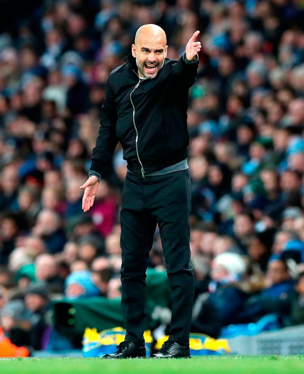 Manchester City boss Pep Guardiola gestures during yesterday's Premier League win over West Ham