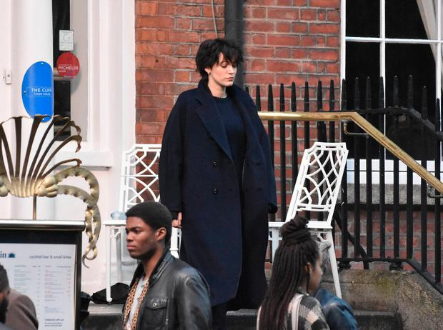 Hollywood actress Blake Lively spotted with short black cropped hair filming The Rhythm Section at The Cliff Townhouse on St Stephens Green, Dublin