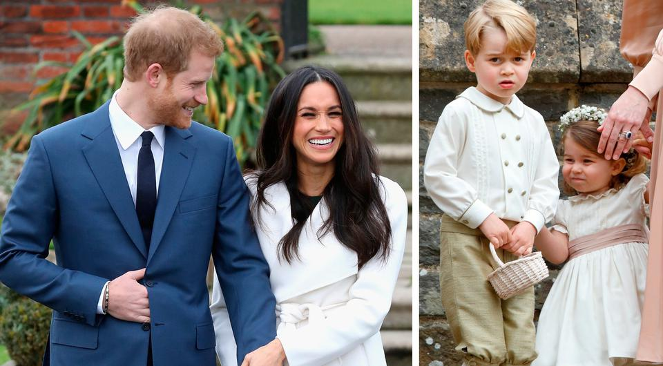 Prince Harry and Meghan Markle, left, and Prince George and Princess Charlotte, right