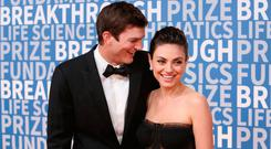 Ashton Kutcher (L) and Mila Kunis attend the 2018 Breakthrough Prize at NASA Ames Research Center on December 3, 2017 in Mountain View, California. (Photo by Jesse Grant/Getty Images)