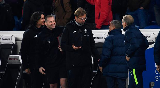 Soccer Football - Premier League - Brighton & Hove Albion vs Liverpool - The American Express Community Stadium, Brighton, Britain - December 2, 2017 Liverpool manager Juergen Klopp and Brighton manager Chris Hughton after the game REUTERS/Dylan Martinez