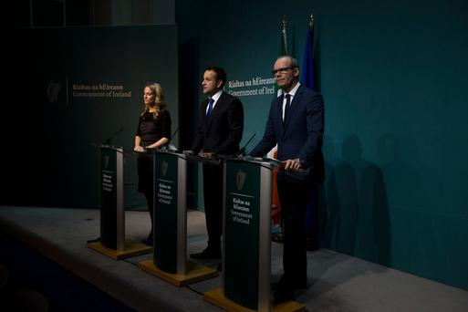 Taoiseach, Leo Varadkar, Tánaiste, Simon Coveney and Minister Helen McEntee at a press conference on Phase I of the Brexit negotiations this evening at Government buildings. Pic:Mark Condren