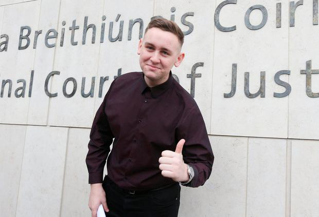 Jason Lester (18) from Tallaght, who had his conviction for the false imprisonment of former tánaiste Joan Burton during the Jobstown protest overturned on appeal. Photo: Collins Courts