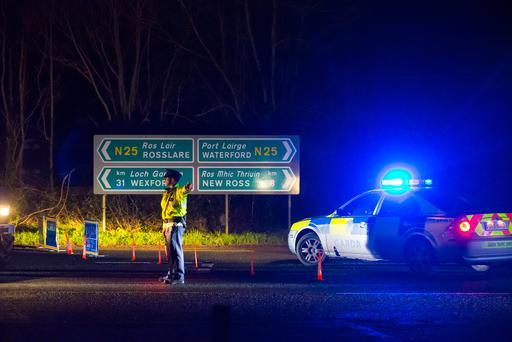 A garda near the scene of the crash just off the N25 between New Ross and Ballinaboola, Co Wexford. Photo: Patrick Browne