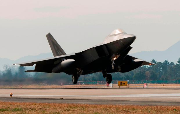 A US F-22 Raptor taking part in exercises in South Korea. Photo: Getty Images