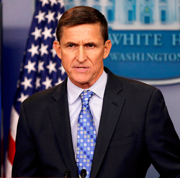 Michael Flynn speaks at the White House in Washington. Photo: Carlos Barria