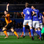 Wolverhampton Wanderers' Leo Bonatini successfully appeals to score his side's first goal of the game. Photo: PA