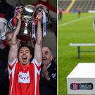 Cuala captain Paul Schutte raises the trophy on Sunday but this is the trophy (right) he should have been lifting