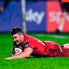 Sam Arnold goes over for a Munster try against Dragons last month. Photo: Eóin Noonan/Sportsfile