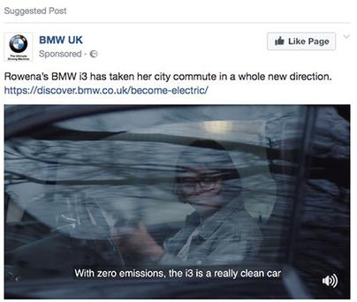 Screen grabbed image taken from a Facebook post issued by the Advertising Standards Authority of an ad for BMW which has been banned for falsely claiming that its i3 is a zero-emissions