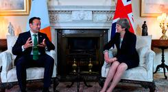 Leo Varadkar and Theresa May at a meeting earlier this year in Downing Street