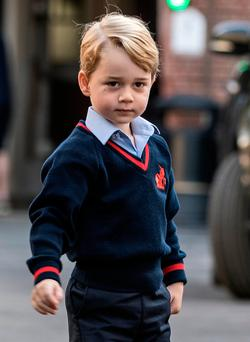 Britain's Prince George on his first day of school