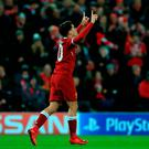 Liverpool's Philippe Coutinho celebrates scoring his sides fifth goal during the UEFA Champions League, Group E match at Anfield, Liverpool. PRESS ASSOCIATION Photo. Picture date: Wednesday December 6, 2017. See PA Story SOCCER Liverpool. Photo credit should read: Tim Goode/PA Wire