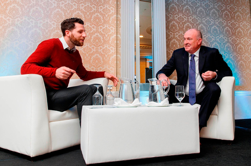 Newstalk sports reporter Shane Stapleton with Dublin hurling boss Pat Gilroy;