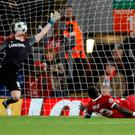 Soccer Football - Champions League - Liverpool vs Spartak Moscow - Anfield, Liverpool, Britain - December 6, 2017 Liverpool's Sadio Mane scores their fourth goal Action Images via Reuters/Carl Recine