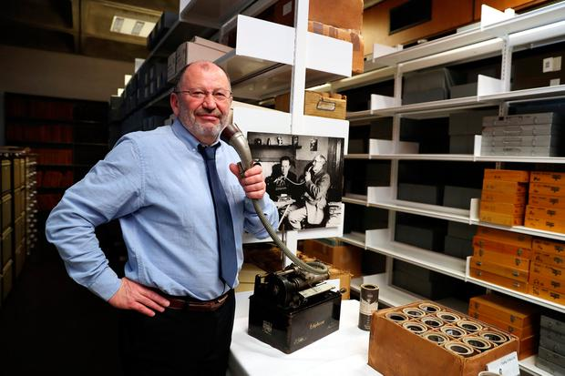 Críostóir MacCárthaigh, director of the National Folklore Collection, with equipment used to record audio in the early 20th century. Photo: Jason Clarke