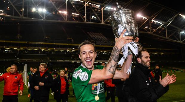 Karl Sheppard celebrates after Cork City's FAI Cup final victory