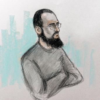 Court artist sketch by Elizabeth Cook of Husnain Rashid in the dock at Westminster Magistrates' Court in London: Elizabeth Cook/PA Wire
