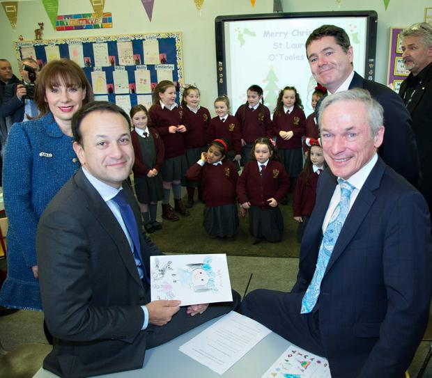 Pictured at The launch of The Creative Ireland Programme/Creative Youth Plan at St. Laurence O'Toole's GNS, Seville Place today were; Taoiseach Leo Varadkar and Ministers, Josepha Madigan, Paschal O'Donohoe and Richard Bruton. PIC COLIN O'RIORDAN