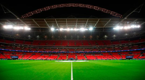 LONDON, ENGLAND - DECEMBER 06: General view inside the stadium prior to the UEFA Champions League group H match between Tottenham Hotspur and APOEL Nicosia at Wembley Stadium on December 6, 2017 in London, United Kingdom. (Photo by Julian Finney/Getty Images)