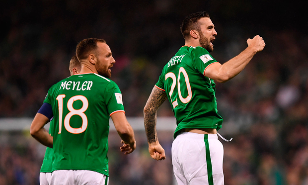 14 November 2017; Shane Duffy of Republic of Ireland celebrates after scoring his side's goal during the FIFA 2018 World Cup Qualifier Play-off 2nd leg match between Republic of Ireland and Denmark at Aviva Stadium in Dublin. Photo by Stephen McCarthy/Sportsfile