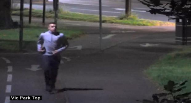 Handout image taken from CCTV issued by Leicestershire Police of Charlie John Pearce running through Leicester's Victoria Park before he tried to bludgeon a woman to death with a paving slab Photo: Police/PA Wire